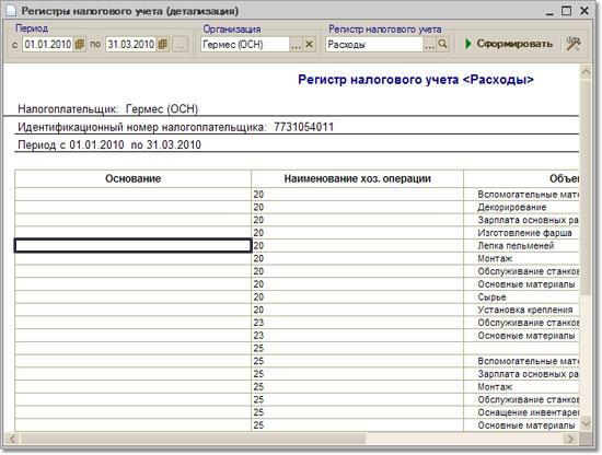 Регистры налогового учета - настройка отчета в конфигурации СКАТ