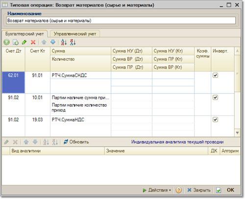 Типовые операции, бухгалтерский учет - конфигурация СКАТ-Профессионал